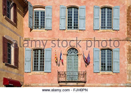 The small village of Roussillon, in Provence : town hall - Stock Image