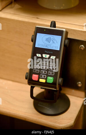Contactless payment card reader, UK - Stock Image