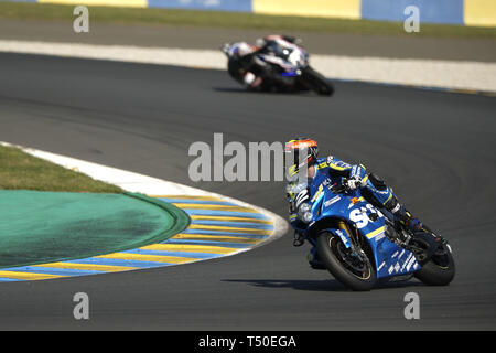 Le Mans, Sarthe, France. 19th Apr, 2019. Suzuki Endurance Racing Team Suzuki GSXR 1000 - French rider GREG BLACK in action during the 42th edition of the 24 hours motorcycle of Le Mans at circuit Bugatti. Credit: Pierre Stevenin/ZUMA Wire/Alamy Live News - Stock Image