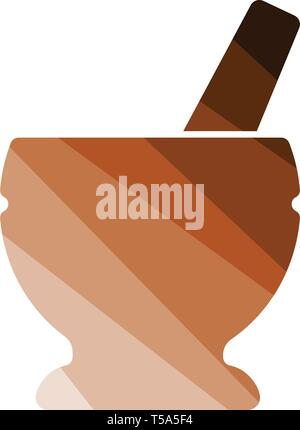 Mortar and pestle icon. Flat color design. Vector illustration. - Stock Image