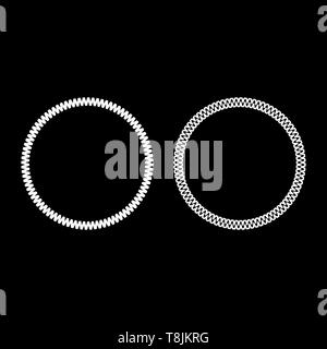 Decoration circle Decorative line Art frame icon outline set white color vector illustration flat style simple image - Stock Image