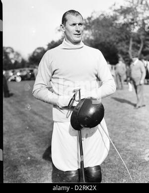 Polo Player Winston Guest at the Meadow Brook Club, Westbury, NY May 15, 1939 - Stock Image