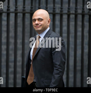 London, UK. 19th March 2019.  Sajid Javid, Secretary of State for the Home Department, Home Secretary, arrives in Downing Street for weekly cabinet meeting. Credit: Malcolm Park/Alamy Live News. - Stock Image