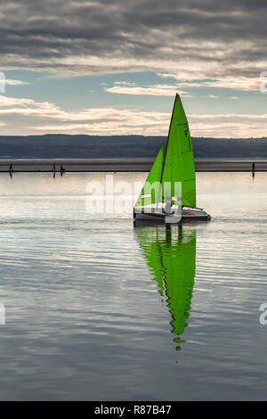 Dinghy sailing on the Marine Lake at West Kirby, Wirral, England - Stock Image