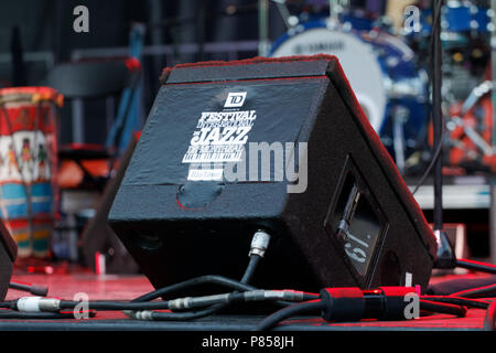 Montreal, Canada. Loudspeaker on the stage used for a monitor at the Montreal International Jazz Festival. - Stock Image