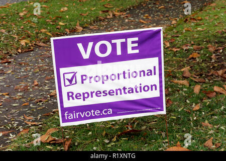 2018 vote proportional  representation sign on the lawn of a house in Vancouver, BC, Canada - Stock Image