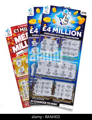 National lottery scratchcards - Stock Image
