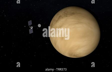 Spaceship and Venus planet. Space theme. 3D illustration. - Stock Image