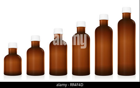 Medicine phials. Set of different pharmaceutical bottles. Unlabeled vials for pills, tablets, capsules, globuli. Brown glass, unlabeled and closed. - Stock Image