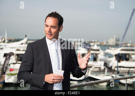 Southampton, UK. 11th September 2015. Southampton Boat Show 2015. Will Green, Sales Director of Princess launches - Stock Image