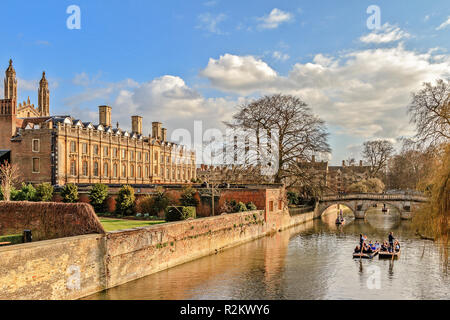 Cambridge Kings College Buildings At The Backs - Stock Image