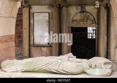 Tomb of Countess Euphemia of Ross in 13th century Cathedral ruins. Fortrose, Black Isle, Ross and Cromarty, Highland, Scotland, UK, Britain - Stock Image