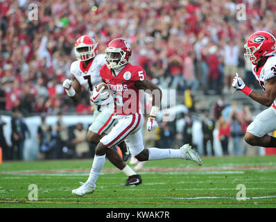 Pasadena, California, USA. 01st Jan, 2018. Oklahoma Sooners wide receiver Marquise Brown #5 during the 2018 Rose - Stock Image