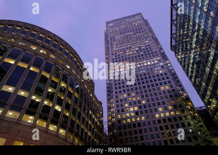 High rise office buildings, Canary Wharf, London, United Kingdom. - Stock Image