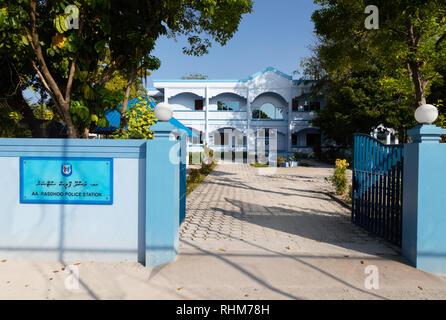 Maldives police station, Rasdhoo Island, Rasdhoo atoll, the Maldives Asia - Stock Image