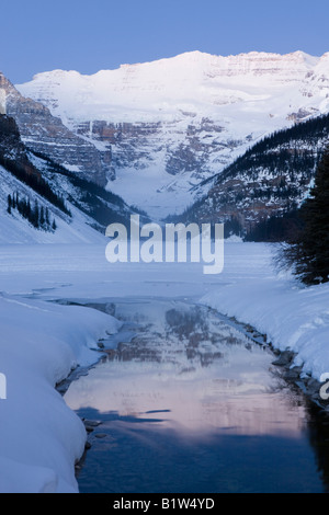 Canada Alberta Banff National park Icefields Parkway Mount Victoria viewed over Lake Louise - Stock Image
