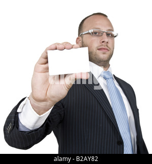 business person with card on isolated background - Stock Image