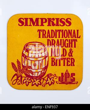 Vintage Beer Mat advertising Simpkiss Beers - Stock Image