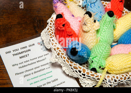 UK, Yorkshire, Wharfedale, Hubberholme, Church of St Michael, fundraising knitted mice - Stock Image