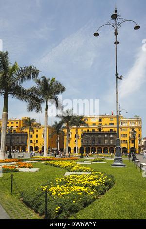 The Plaza Mayor or Plaza de Armas of Lima, Lima, Peru - Stock Image