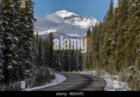Rocky Mountains Winter Fall Kananaskis Banff Canada - Stock Image