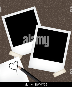 Empty photo frame templates with notepad - Stock Image