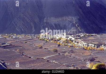 Kagbeni town or village at head of Kali Gandaki valley on Annapurna circuit Himalayas Nepal - Stock Image