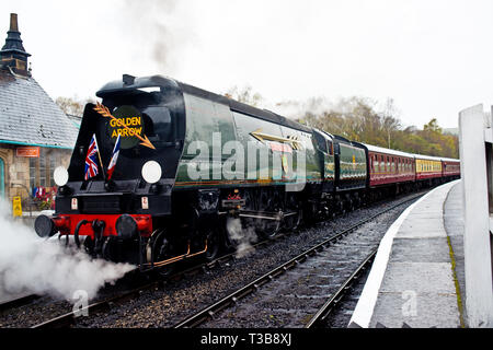 Bullied Pacific, West Country Class No 34092 City of Wells at Grosmont, North Yorkshire Moors Railway, England, 2nd April 2019 - Stock Image