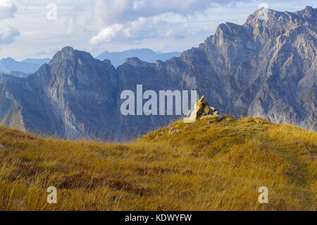 A cairn on Case Argentine in the swiss alps with Culan in the background.  Vaude, Switzerland. - Stock Image
