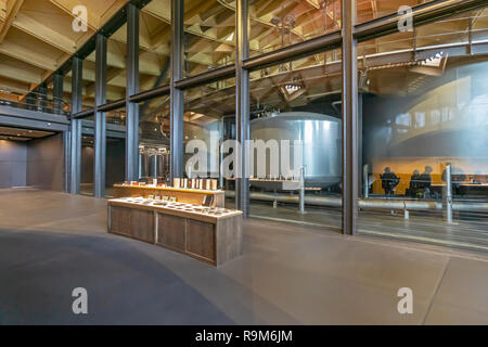 The Macallan distillery single malt Scotch whisky distillery in Craigellachie Moray Scotland UK with internal display and view into distillery section - Stock Image