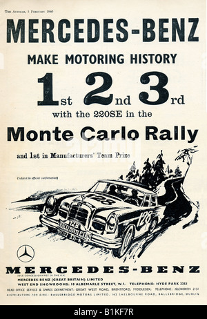 1960 advertisement for Mercedes-Benz 220SE success in the Monte Carlo Rally FOR EDITORIAL USE ONLY - Stock Image