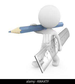 Dude 3D character carrying large transparent plastic Ruler and blue Pencil.  3d Render. - Stock Image