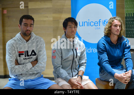 Attendees during the UNICEF Kid Power during Miami Open 2019 at Hard Rock Stadium in Miami Gardens, Florida  Featuring: Marin Cilic, Kei Nishikori, Stefan Tsitsipas Where: Miami Gardens, Florida, United States When: 19 Mar 2019 Credit: Johnny Louis/WENN.com - Stock Image