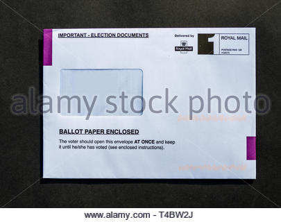 Postal voting ballot papers are delivered to Electors. - Stock Image
