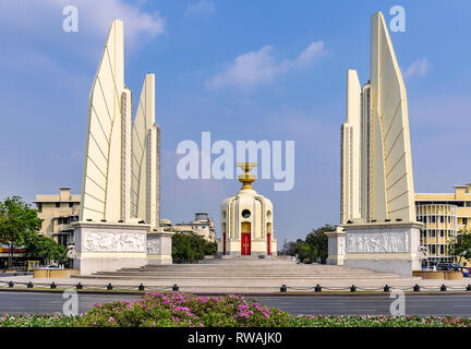 Democracy Monument in Bangkok in Thailand - Stock Image