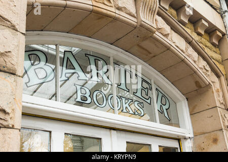 Arch window on the frontage of Barter Books, Alnwick. Barter Books is an extensive secondhand book shop, reputed - Stock Image