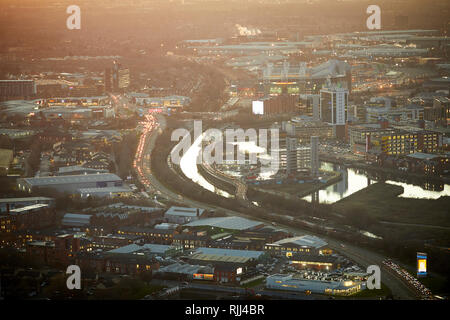 View from the South tower of Deansgate Square looking down at Salford Quays and Pomona Lock and Trafford Park beyond - Stock Image