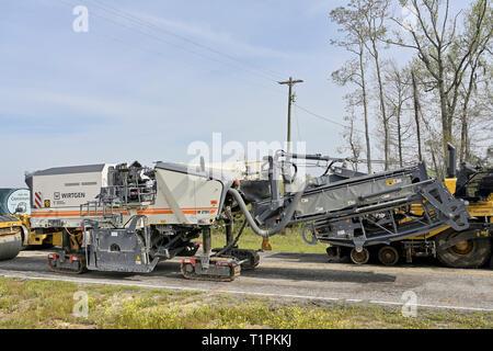 Wirtgen W210i asphalt grinder, road paving machine sitting idle in Montgomery Alabama, USA. - Stock Image
