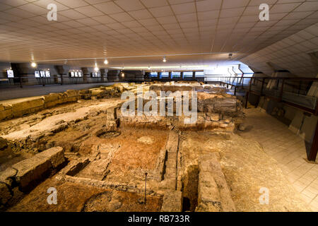 The underground excavations of an ancient Roman village at the Archaeological are of San Pietro degli Schiavoni in Brindisi Italy. - Stock Image