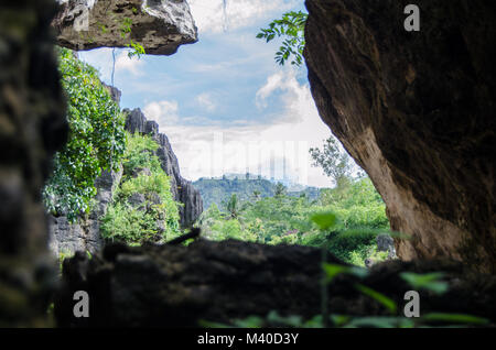 stone cliff with a skyscape and green forest - Stock Image