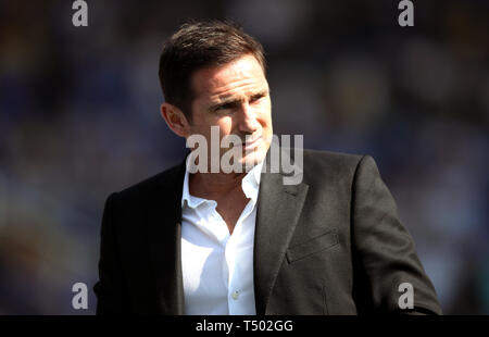 Derby County manager Frank Lampard during the Sky Bet Championship match at St Andrew's Trillion Trophy Stadium, Birmingham. - Stock Image