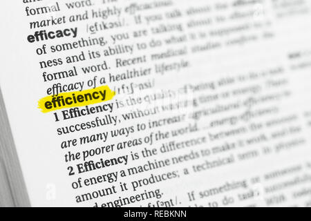 Highlighted English word 'efficiency' and its definition at the dictionary. - Stock Image