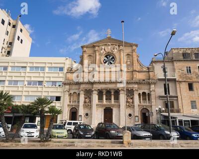 The parish Church of Jesus of Nazareth ,In-Nazzarenu,in Sliema Malta - Stock Image