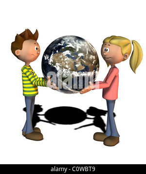 boy and girl with globe comic style illustration - Stock Image
