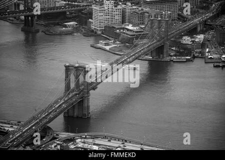 Looking down on the Brooklyn Bridge - Stock Image