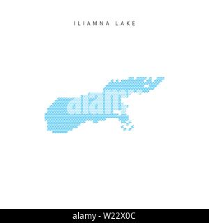 Vector Blue Wave Pattern Map of Iliamna Lake, One of the Lakes of North America. Wavy Line Pattern Silhouette of Iliamna Lake. - Stock Image