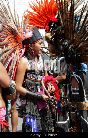Mexican Women Dressed in Aztec Costume at a Traditional Aztec Festival at the National Museum of Anthropology in - Stock Image