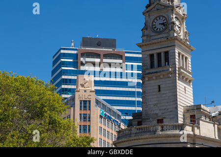 Auckland civic centre, town hall and MLC building, New Zealand - Stock Image