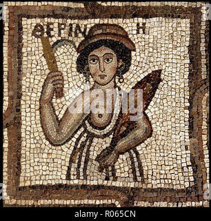 6358. Detail of the mosaic floor of a4th. C. church in Petra, depicting a woman holding a sickle and wheat symbolizing the harvest season. - Stock Image