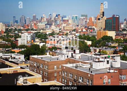 brooklyn, new york, aerial, homes, real estate, overview, condos, coops, church, brownstones, houses, sky, - Stock Image